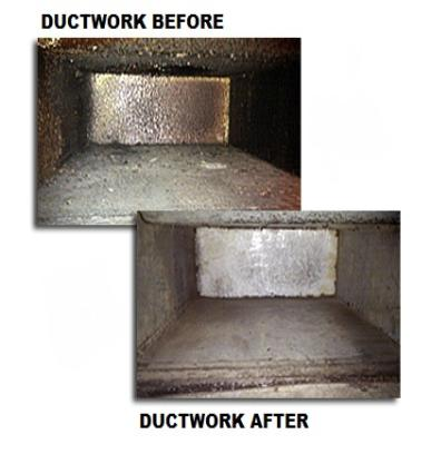duct before cleaning and after cleaning